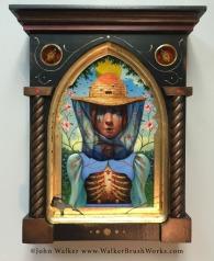 """John Walker, """"Reliquary of an Apiarist"""", mixed media, 13.5h x 10.75w x 3.125d"""", $1500"""